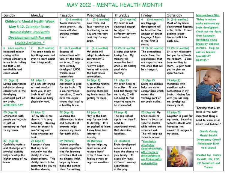 Mental Health activity calendar